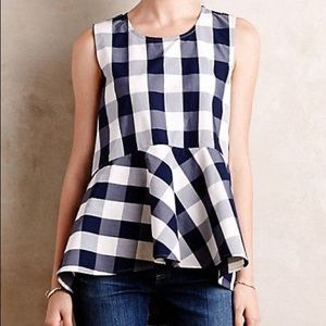 Anthropologie HD in Paris gingham peplum top